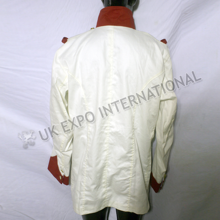 Napoleonic British jaket White with Red collar and cuff Brass plain buttons