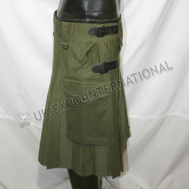 New Modern Olive Kilt 4 Pockets 3 Buckle closing