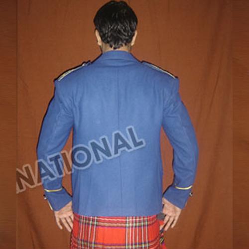 Blue 100 Percent Wool Blazer Braided Argyle Jacket Uk Expo