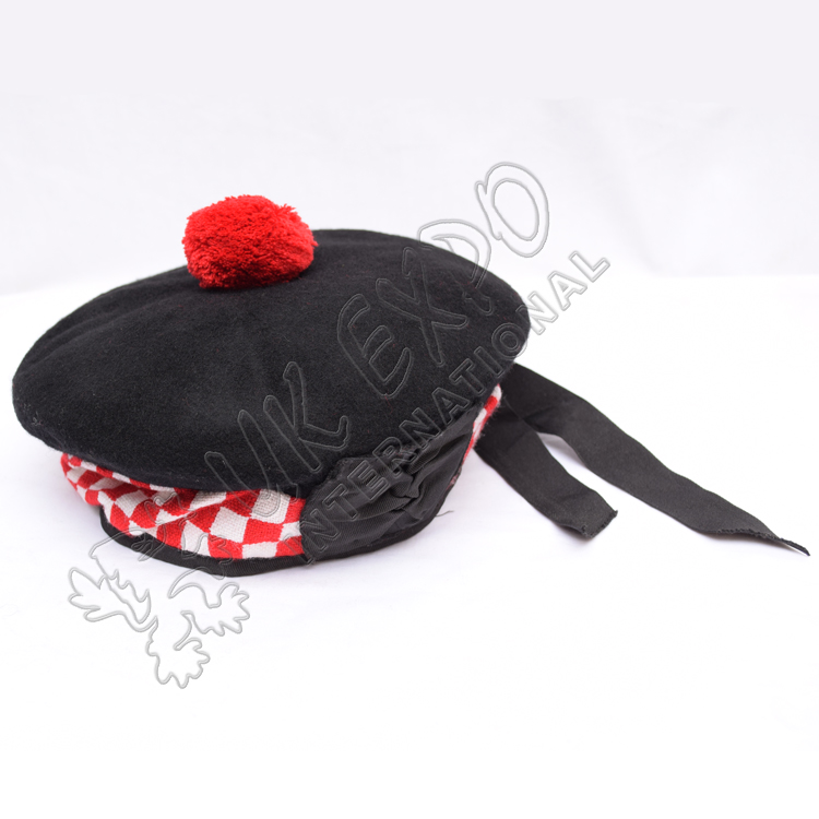 Black Balmoral Hat with white red dicing and red