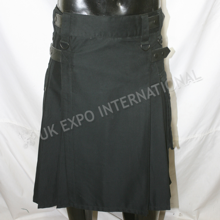 Black Utility kilts With 4 Black Leather Straps