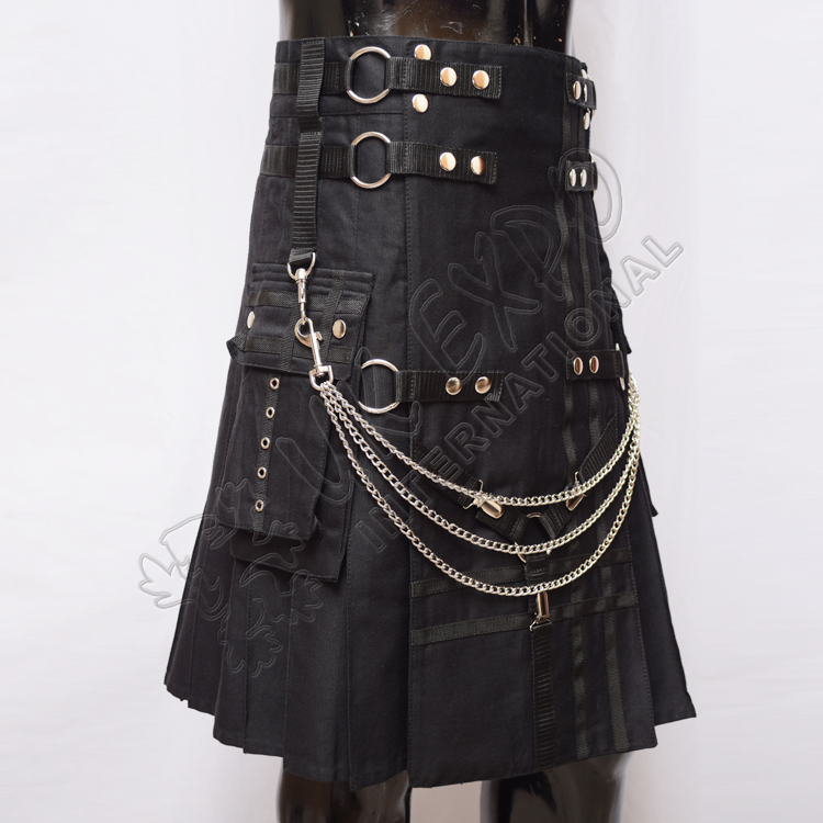 Fashion Black Cotton and Chains Tactical Webbing Utility Kilts