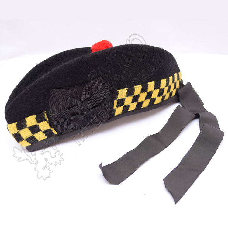 Black Glengarry hat yellow black dicing red pom pom