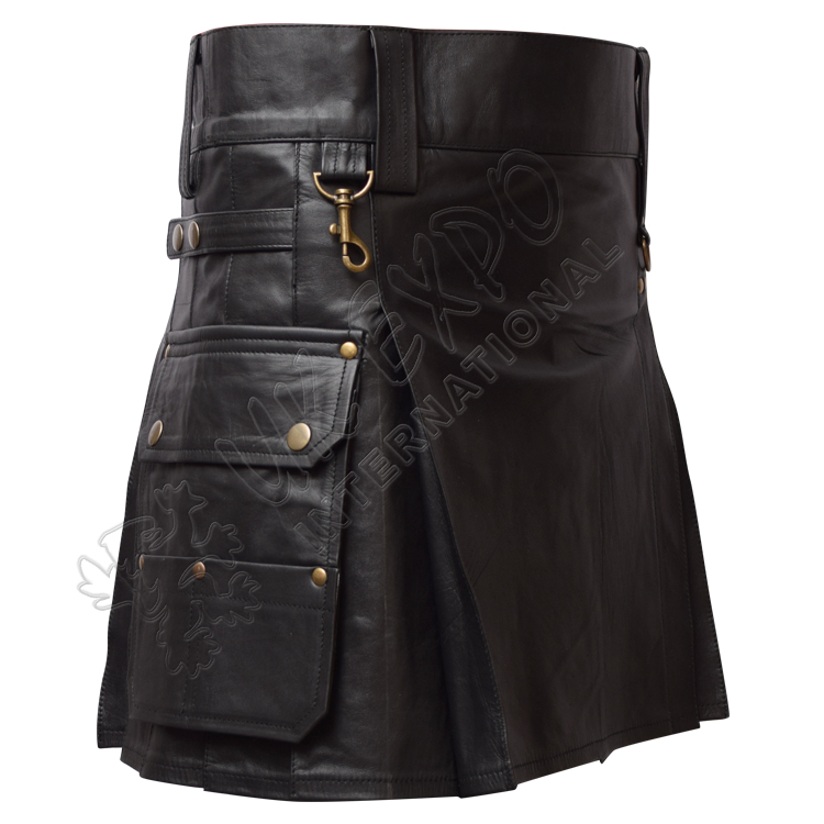 Black Leather Heavy Duty Utility Kilts with 4 Straps closing