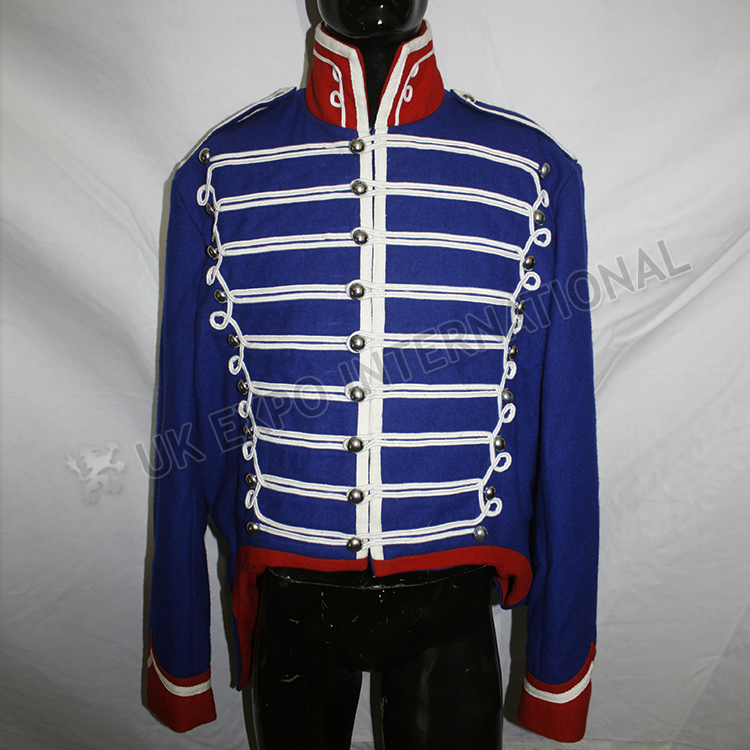Blue Karoko hussar jacket with red Collar and cuff