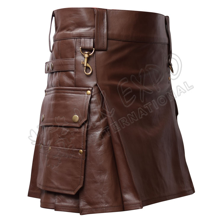 Brown Leather Heavy Duty Utility Kilts with 4 Straps closing