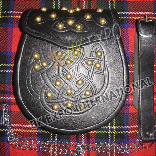 Celtic double Embossed sporran with Golden Studs on Front and Flap