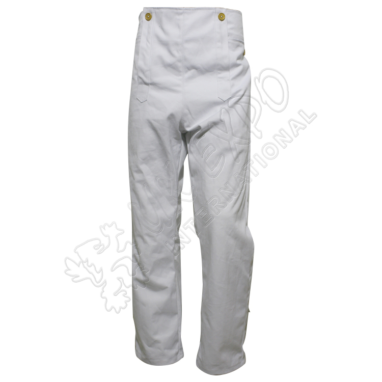 Civil war Trouser in off white canvas with wooden buttons