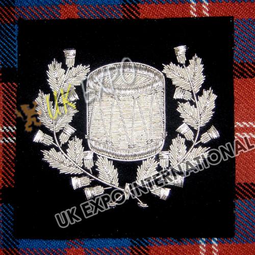 SILVER  Drum major DRUM   Arm Blazer Badge