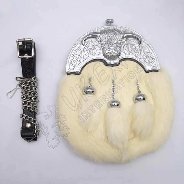 Full Dress Chrome Plated Coo Ox Cantle White Rabbit Fur Sporran