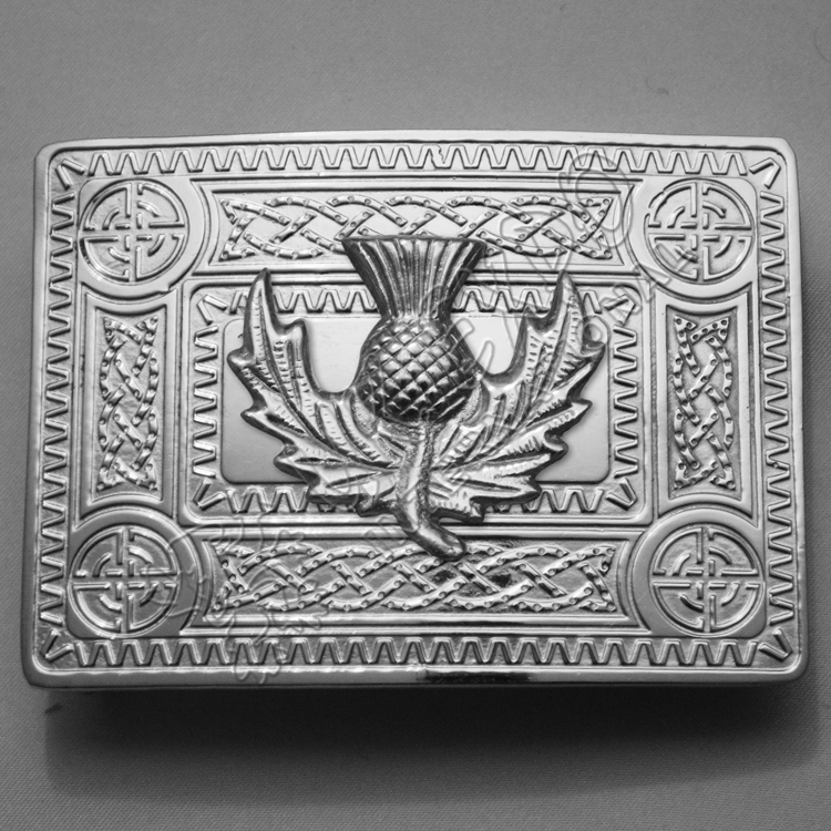 Full Polish Celtic Buckle with new model of thistle Badge