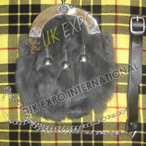 Gray Color Rabbit Fur with 3 Tessels and Celtic Cantle