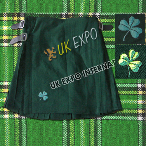 Green Irish Kilts with Shamrock Embroidery