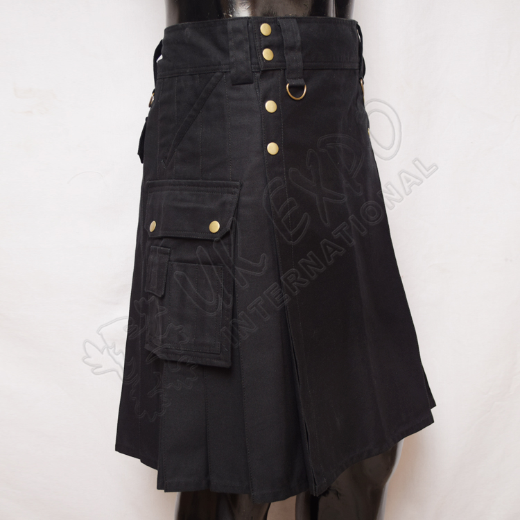 Hiking Stylish Cargo black Utility Kilt with 5 Pockets