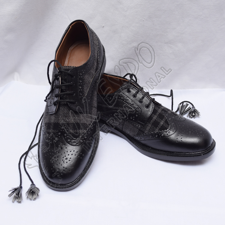 Hybrid Black and Gray Tartan Ghillie Brogues Shoes with Black Color Leather with PU sole