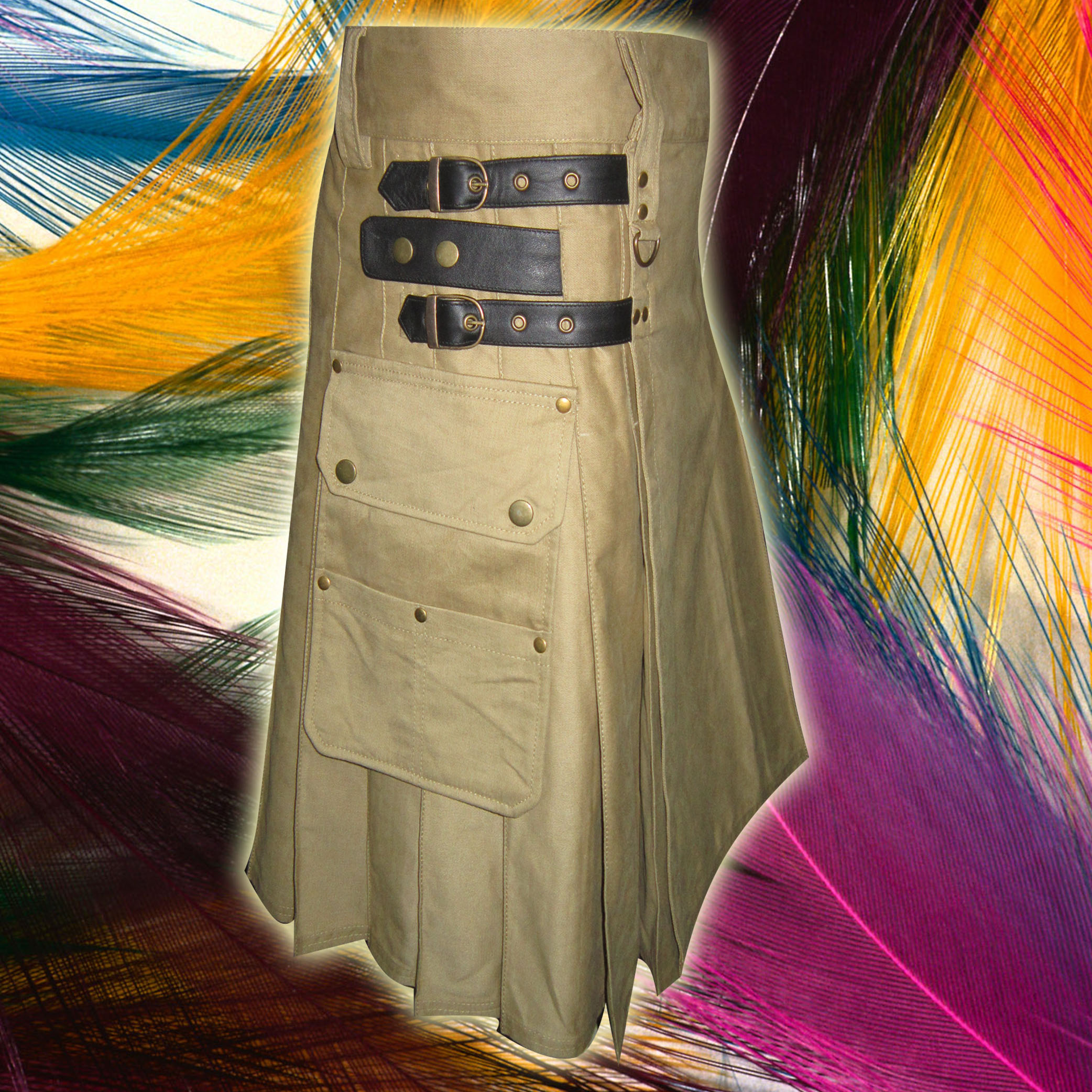 Khaki Laser Utility Kilts with 4 Straps closing