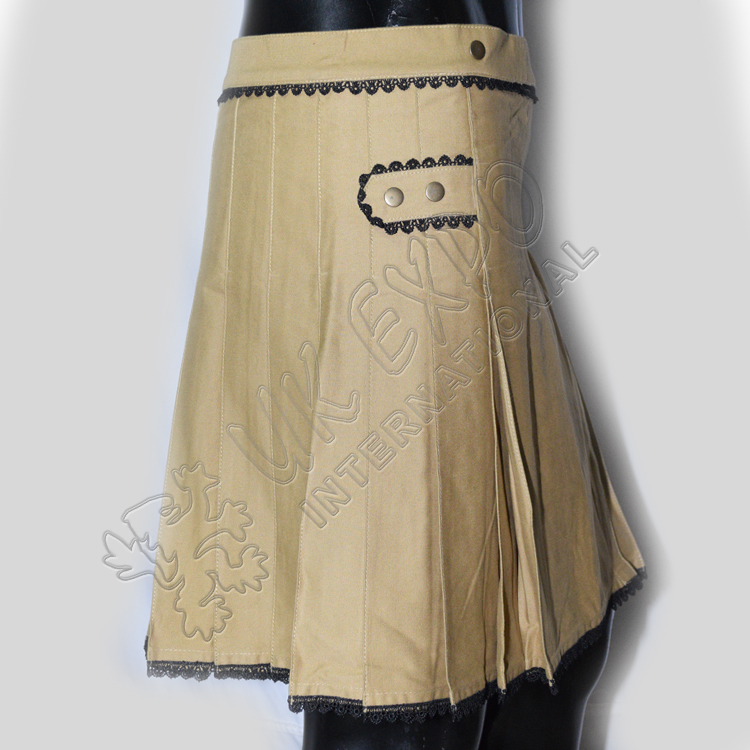 Khaki PC with Black lace Ladies Utility Kilts