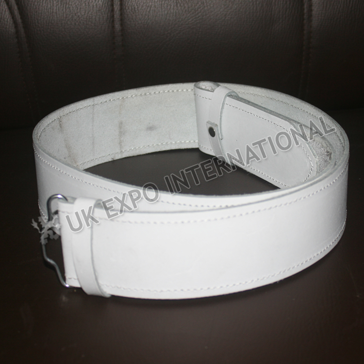 Kilt Waist Belt White Leather