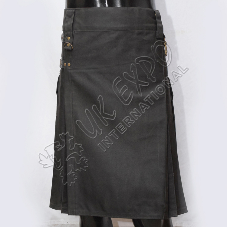 Laser Utility Kilts with 4 Straps closing Black color