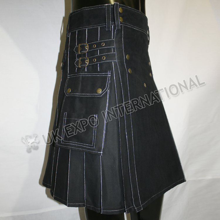 Magic Black Utility Kilts with white out thread