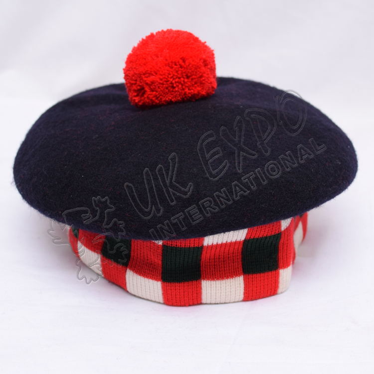 Navy Blue Balmoral Hat with Red, white and Green dicing and red pom pom
