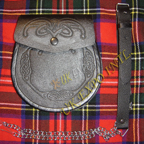New Graint Leather Double Celtic Embossed Sporran