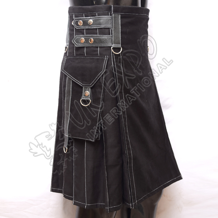 Heavy Duty Black Utility Kilts With White Out Thread