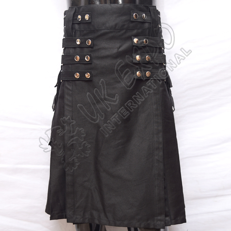 Black Heavy Duty 8 Straps/Snap Closing Utility Kilt