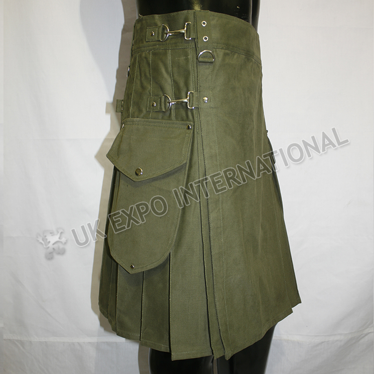 Olive color Round Attached Pockets Utility Sports Casual Pocket Kilt
