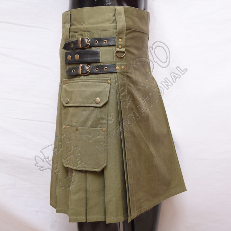 Heavy Duty Olive Utility Kilts with 4 closing Straps