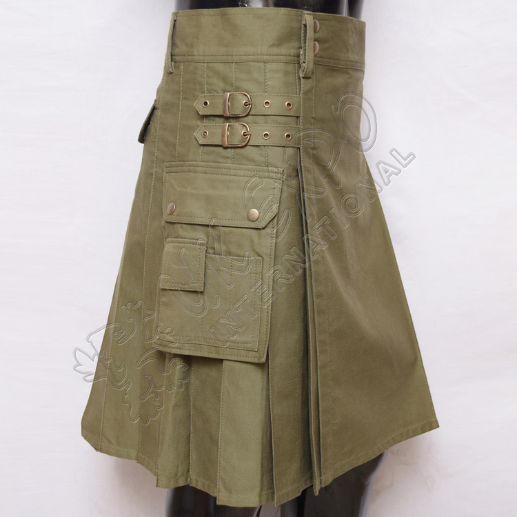 Olive Utility Kilt With long strap 3 sizes adjustable brass snaps