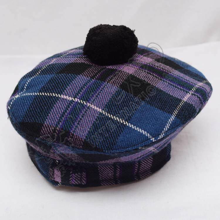 Pride of Scotland Tartan Military Bonnet Hat with Black Pom Pom