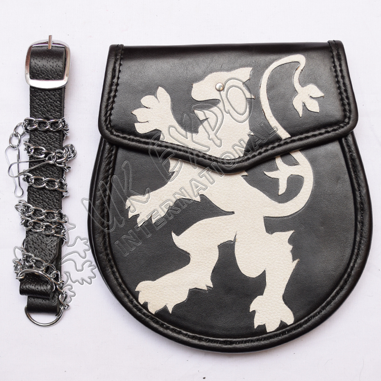 Rampart lion Leather sporrans with real leather Belt and chain