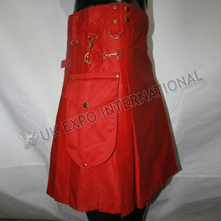 Red color Round Attached Pockets Utility Sports Casual Pocket Kilt