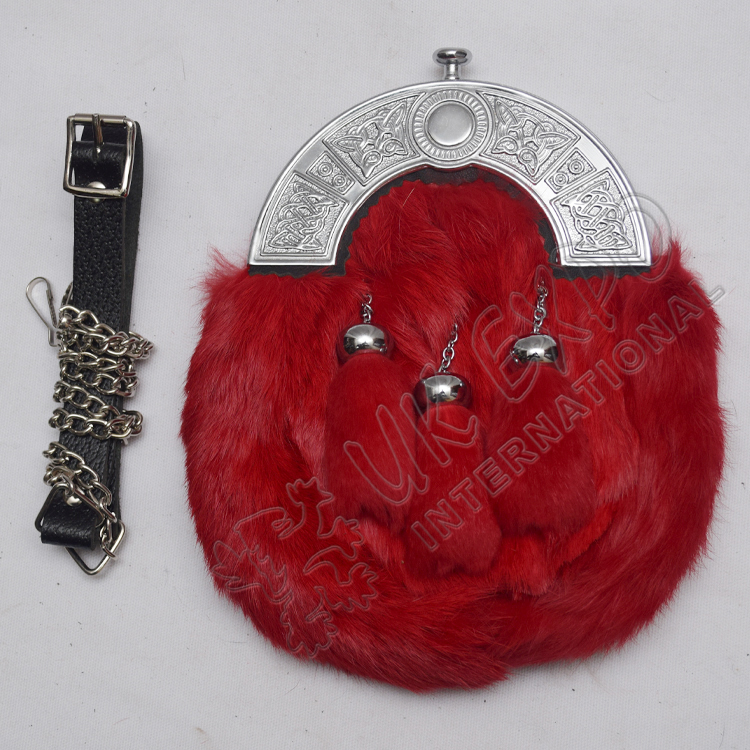 Red Rabbit Furr sporrans with Chrome Plated cantle