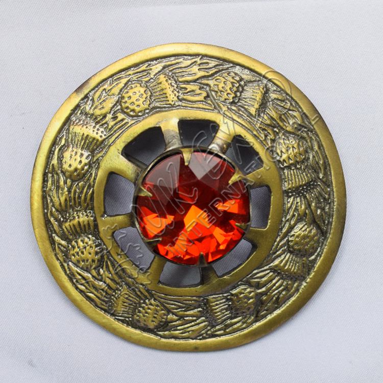 Ruby Stone brass antique Brooches
