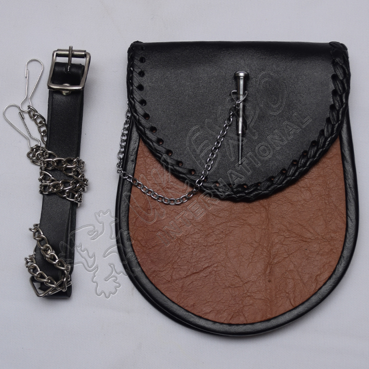 Scottish Black and Brown Leather Sporran With Chain Lock