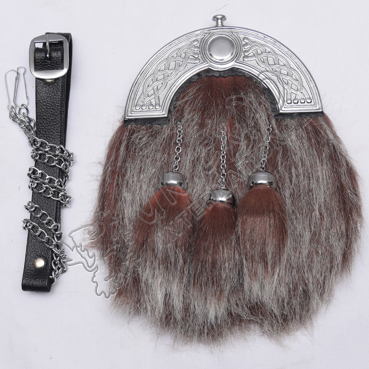 Scottish Dark Brown and Gray Color Fur Sporran With Celtic Design Cantle