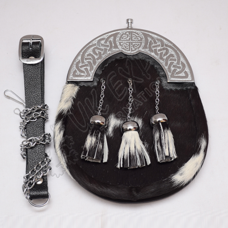 Scottish Goat Skin Sporran With Celtic Design Cantle & Three Tassels