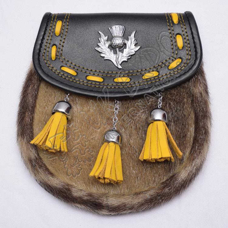 Bule /& White Cross,Thistle Crest Badge+Belt Set 3 Tassels Scottish Kilt Sporran