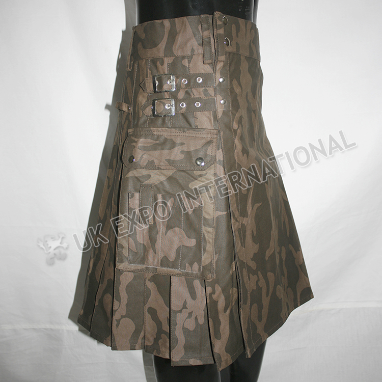 Show Men Brown Camo Utility Kilt