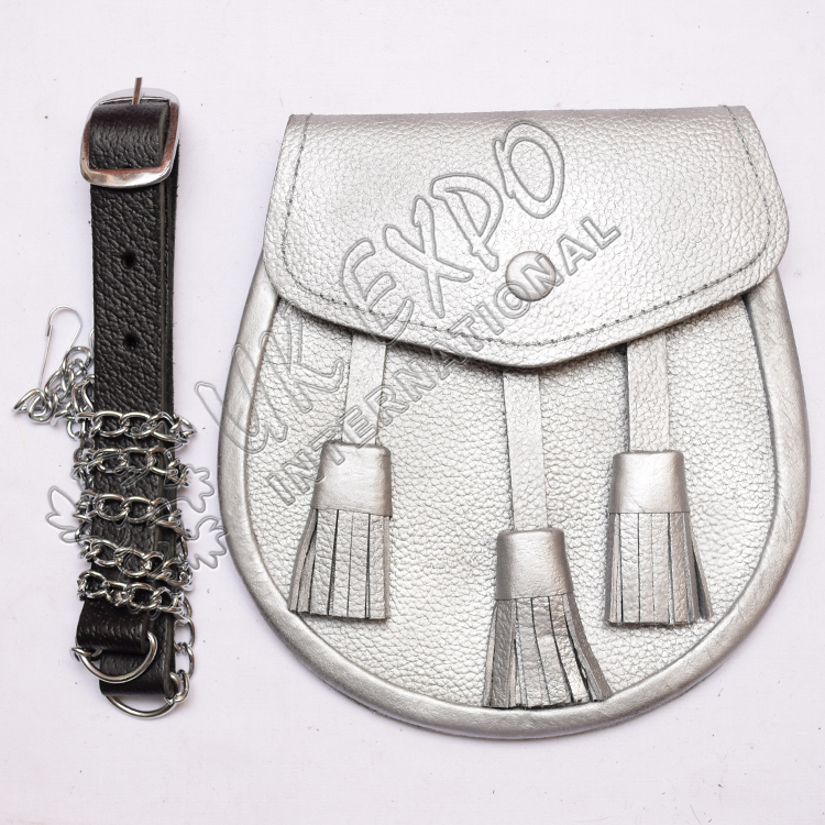 Silver Leather Three Tessel Sporran