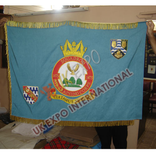 SQUADRON AIR TRAINING CORPS 1475 Large Flag Hand Embroidery with Gold Frings