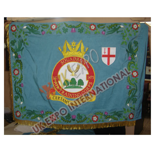 SQUADRON AIR TRAINING CORPS 1475 WITH BORDER large flag Hand Embroidery and Gold Fring