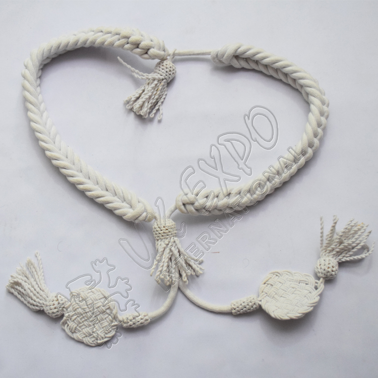 White color Grenadier Cord in Available in Wool Cotton and Silk