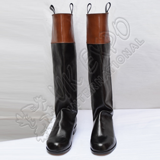18th Century Long Cuffed Ridding Boots French Black & Brown Real Leather