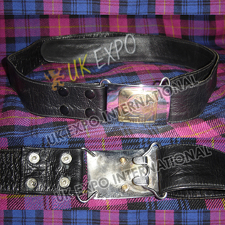 2 Wide Double sided Leather Belt with Snaps Closing with Buckle