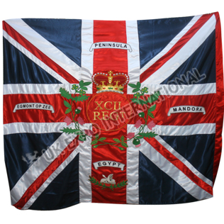 92nd Regiment Gordon Highlanders as carried at Waterloo large hand embroidery flag