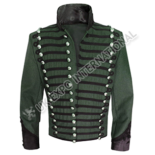 95th Rifles Jacket Green Color And Black Braid with Silver Doom Botton