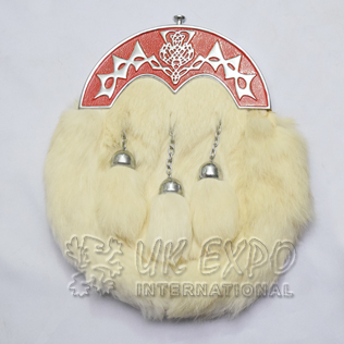 White Rabbit Fur Full Dress Sporrans Scottish Flower Red Color Filled Cantle